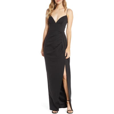 Katie May Reconcile Side Slit Column Gown, Black