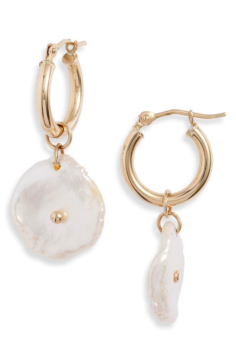POPPY FINCH Mini Pearl Petal Hoop Earrings, Main, color, YELLOW GOLD/ PEARL
