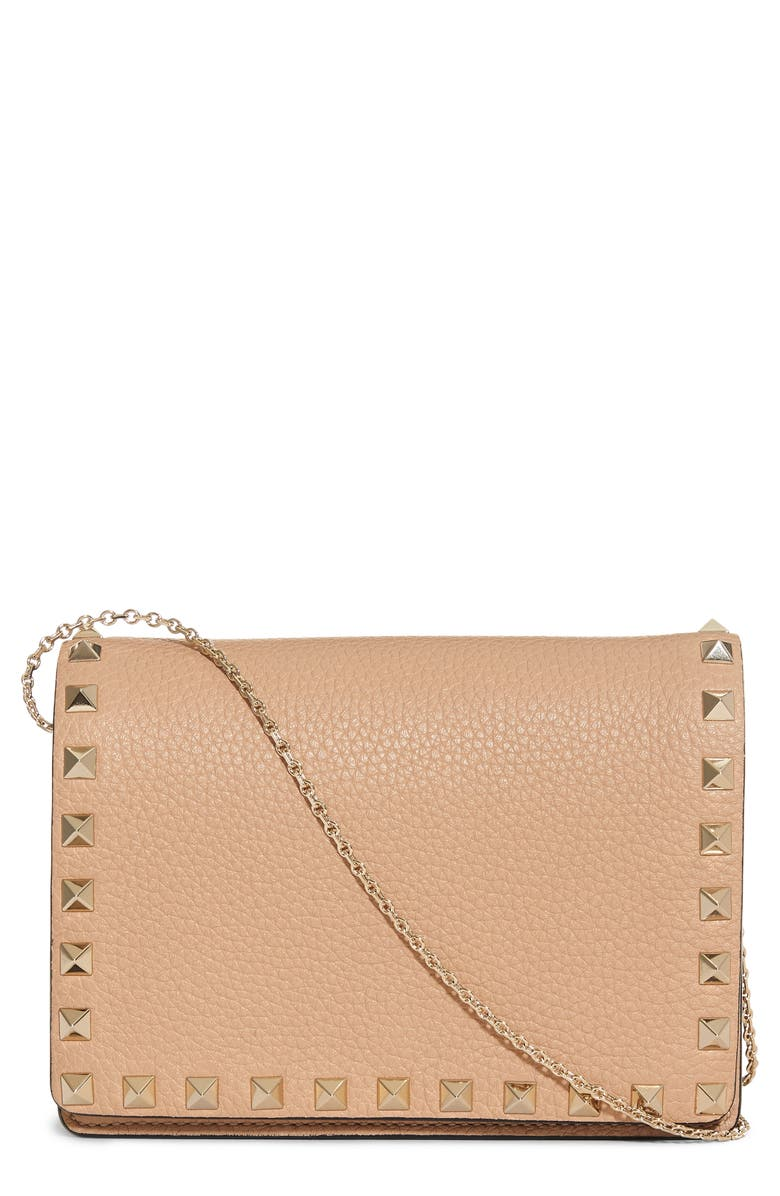 VALENTINO GARAVANI Rockstud Leather Wallet on a Chain, Main, color, 244