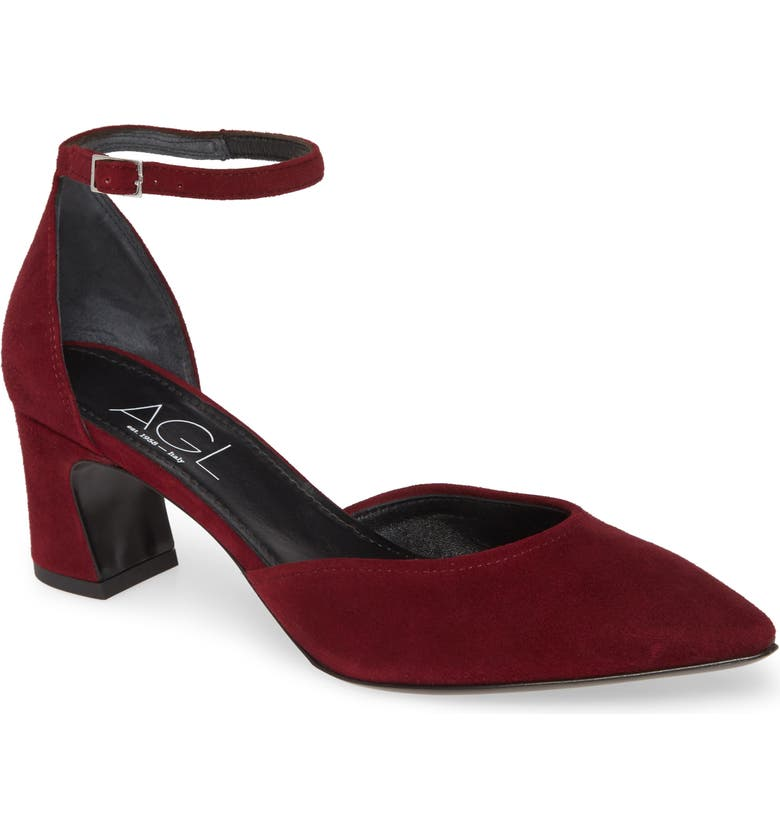 AGL d'Orsay Ankle Strap Pump, Main, color, CHIANTI SUEDE