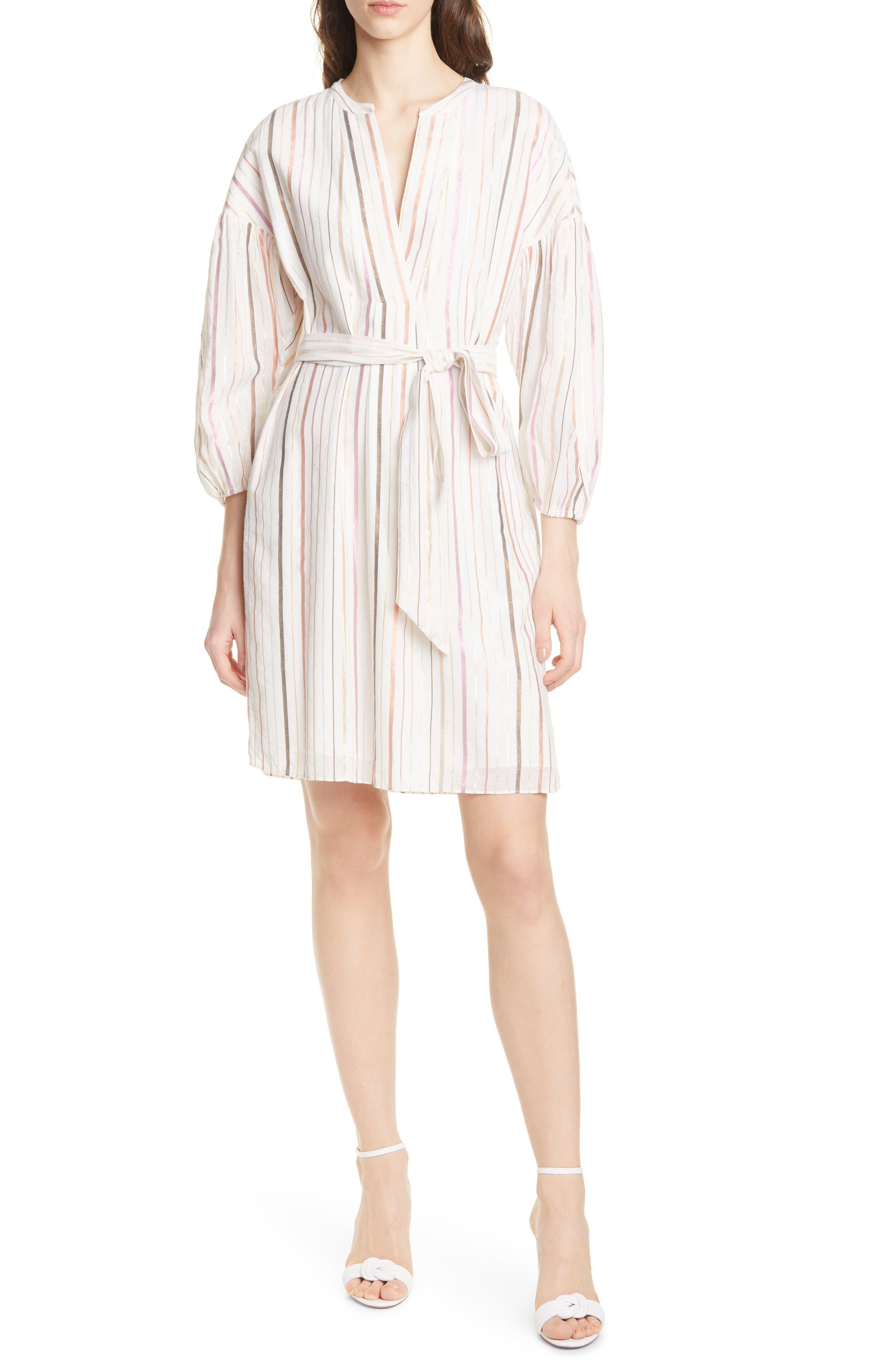 Joie Semra Stripe Cotton Blend Dress, Ivory