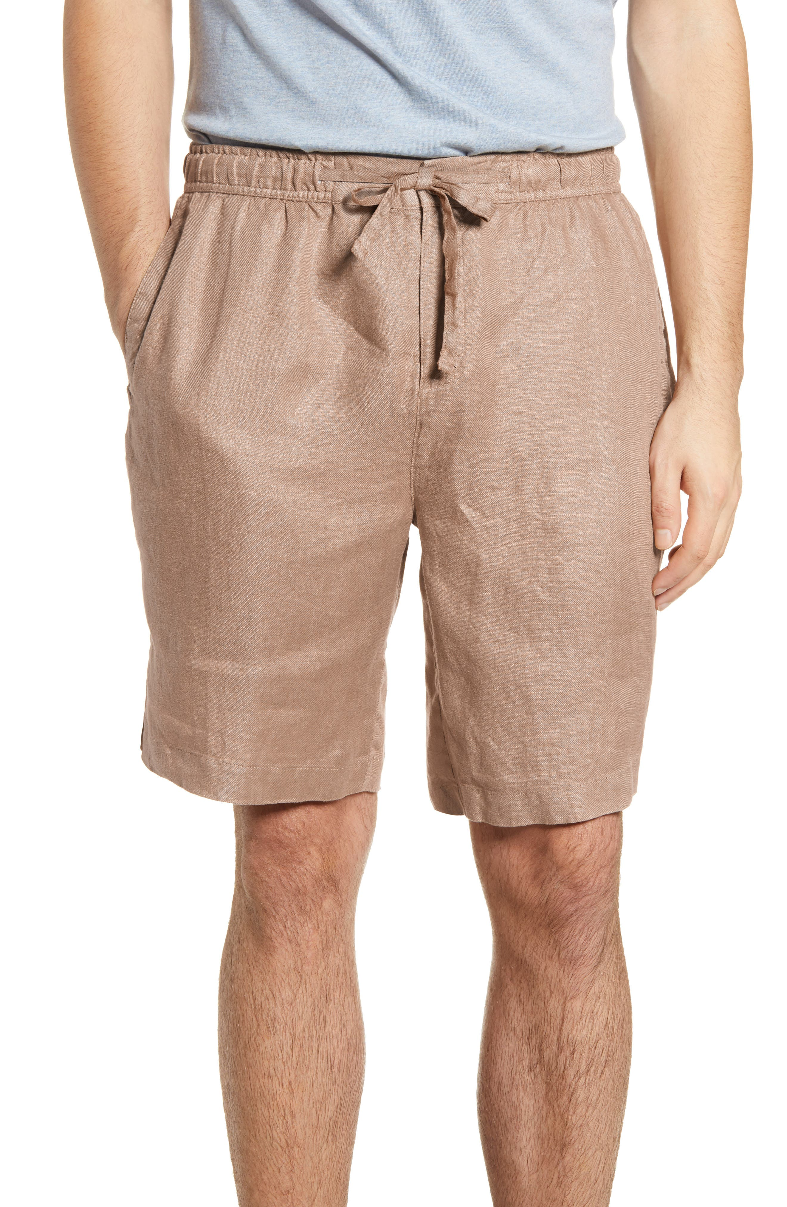 Woven linen furthers the relaxed, easy attitude of shorts designed for timeless good looks with a flat front and versatile coloring. Style Name: Bugatchi Solid Linen Shorts. Style Number: 6012018 1. Available in stores.