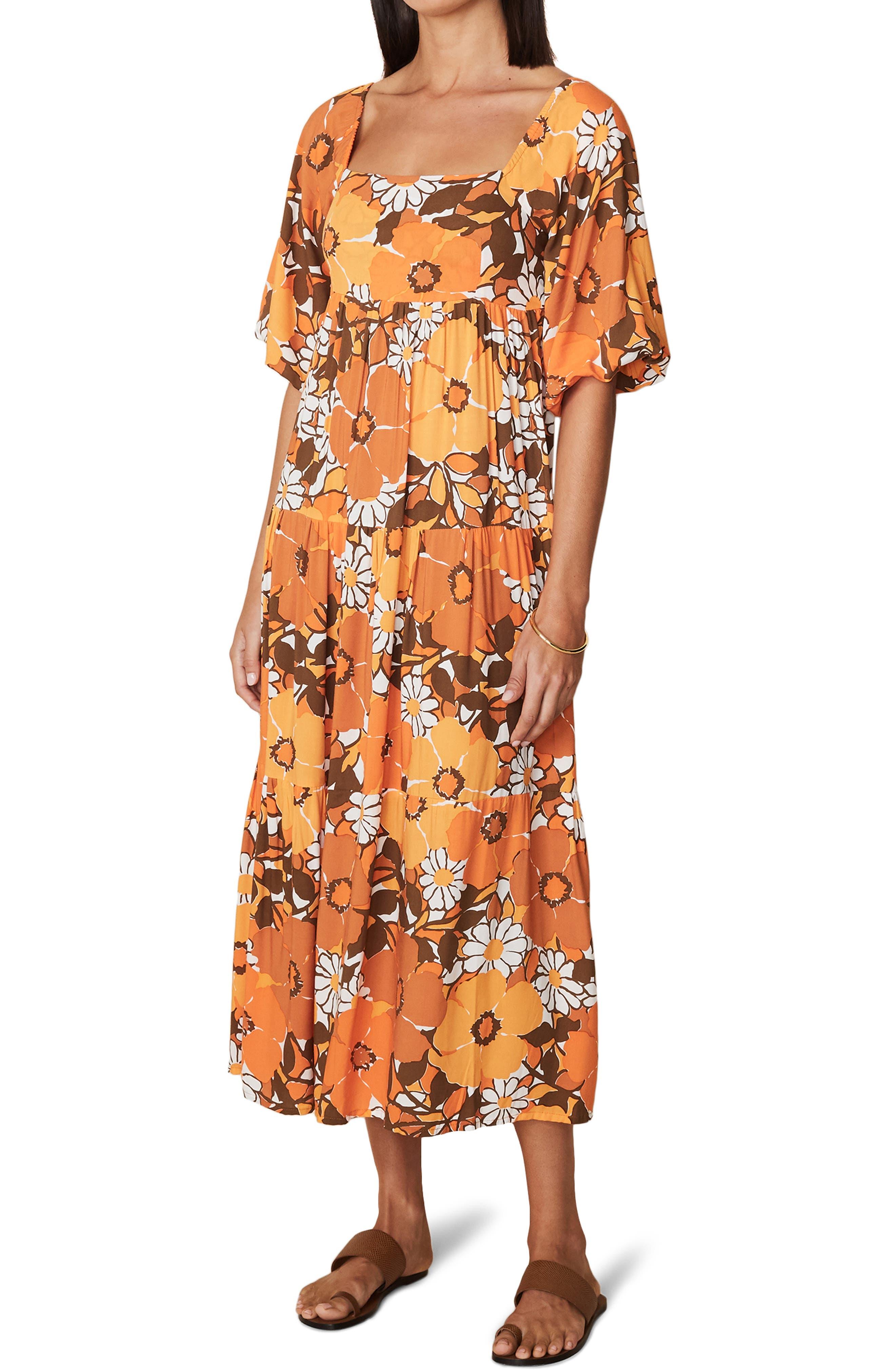 60s Dresses   1960s Dresses Mod, Mini, Hippie Womens Faithfull The Brand Floral Tiered Midi Dress Size XX-Large - Orange $229.00 AT vintagedancer.com