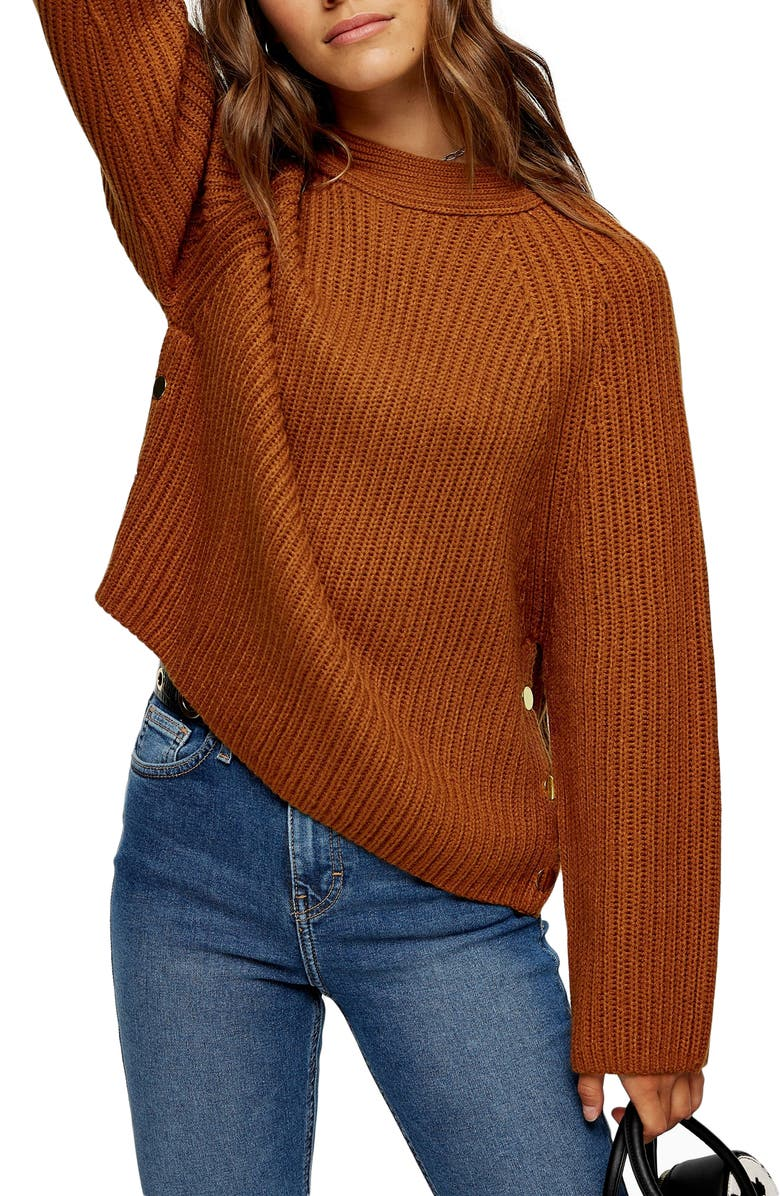 TOPSHOP Snap Side Sweater, Main, color, 200
