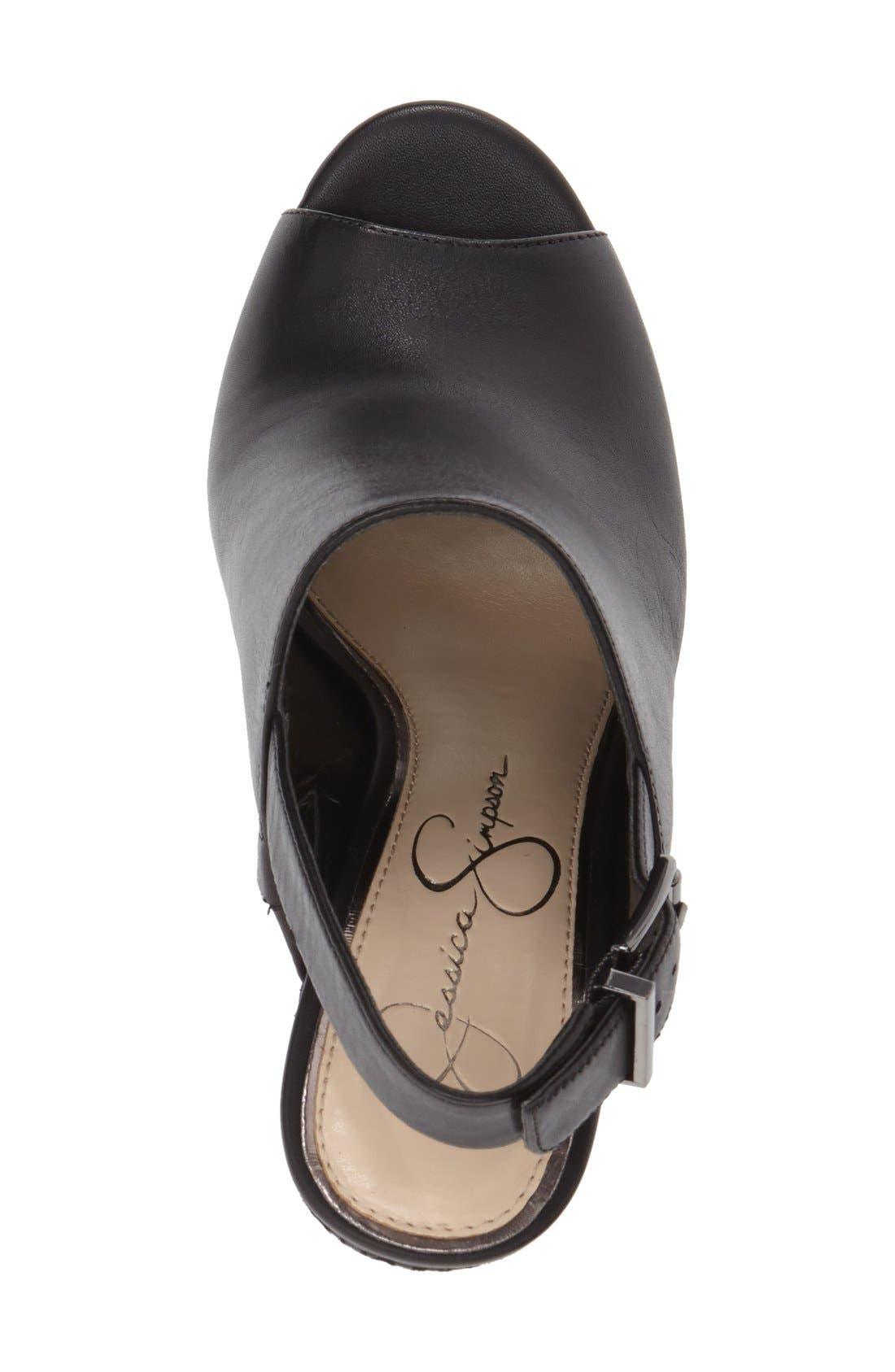 ,                             'Radina' Wedge Sandal,                             Alternate thumbnail 4, color,                             002