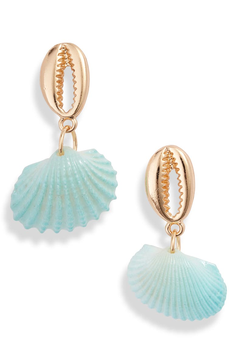 8 OTHER REASONS South Beach Shell Drop Earrings, Main, color, TEAL