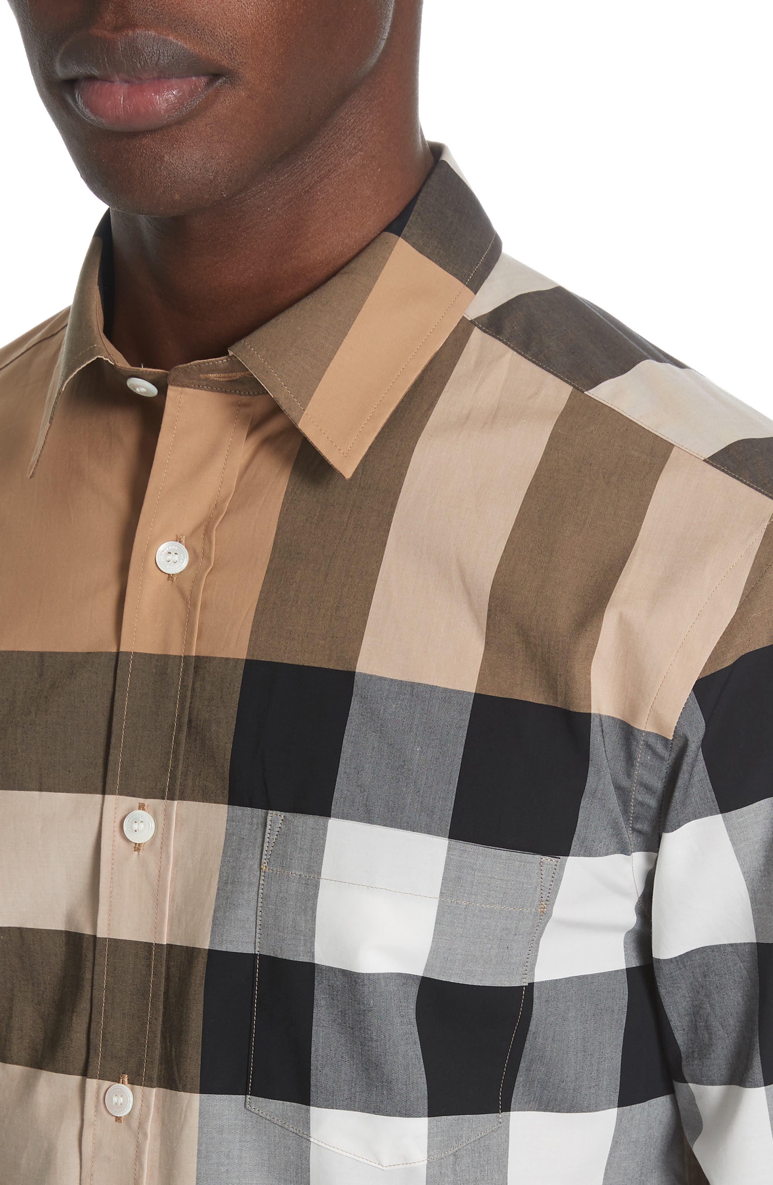,                             Windsor Slim Fit Check Sport Shirt,                             Alternate thumbnail 2, color,                             CAMEL