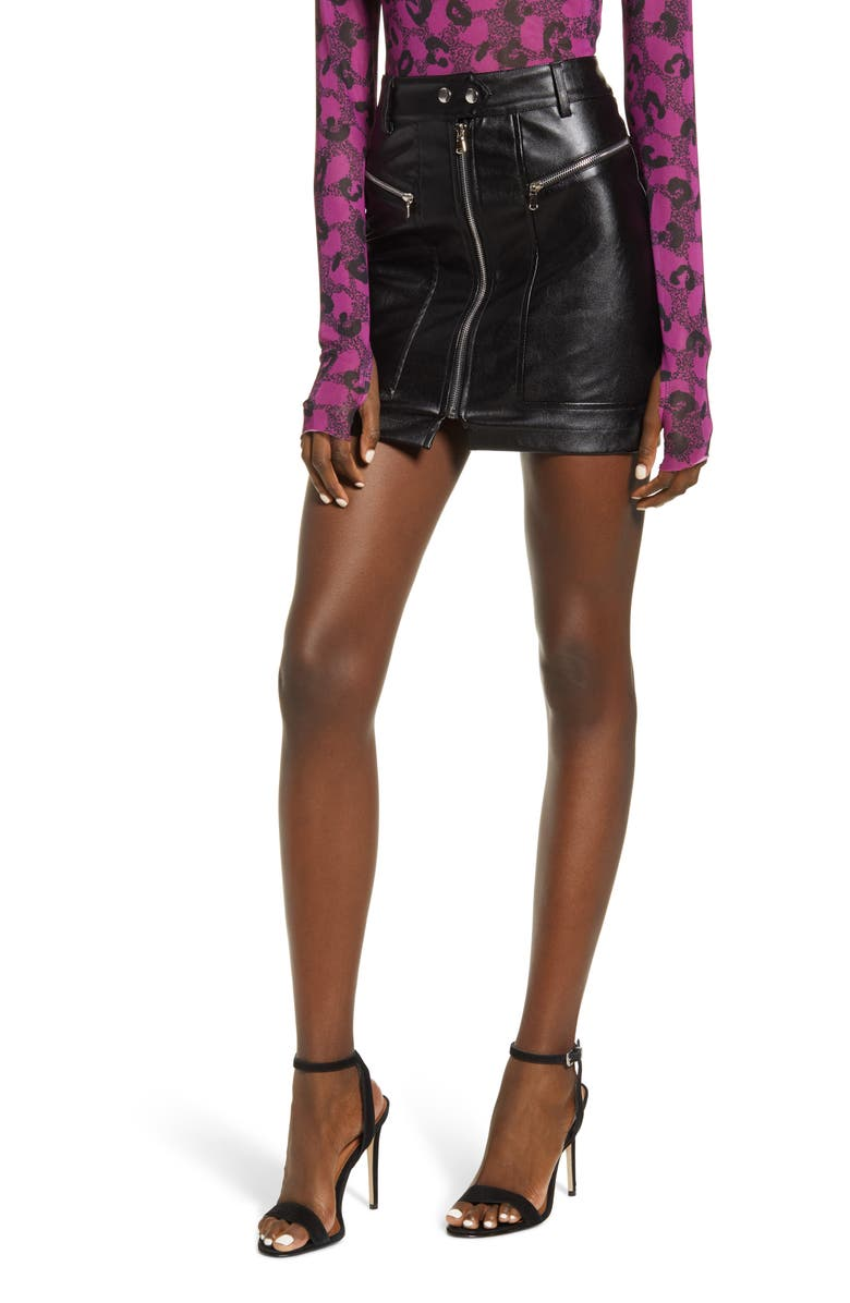 TIGER MIST Dylan Faux Leather Miniskirt, Main, color, 001