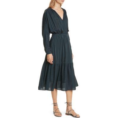 Dolan Margarita Shadow Stripe Long Dolman Sleeve Cotton Blend Dress, Grey