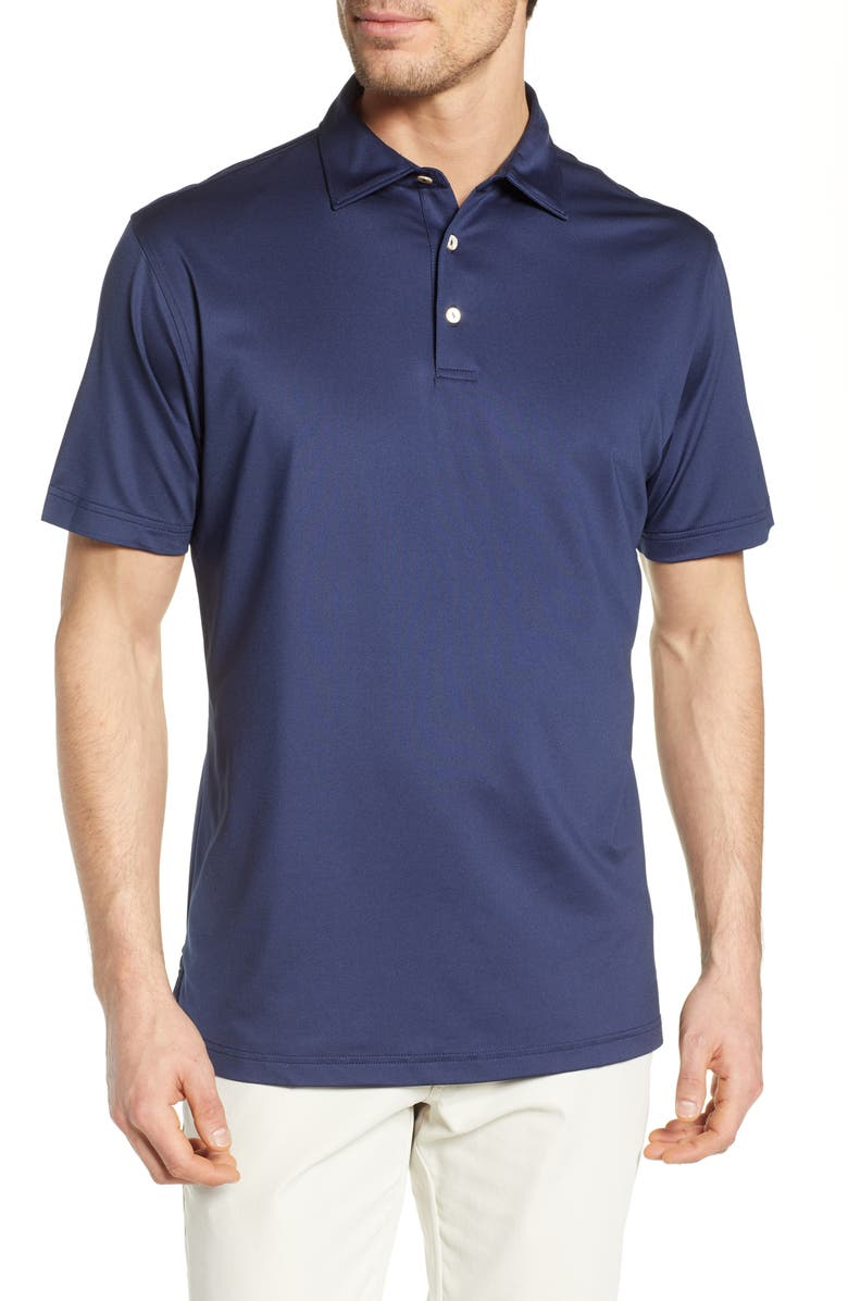 PETER MILLAR Sean Regular Fit Stretch Jersey Polo, Main, color, NAVY