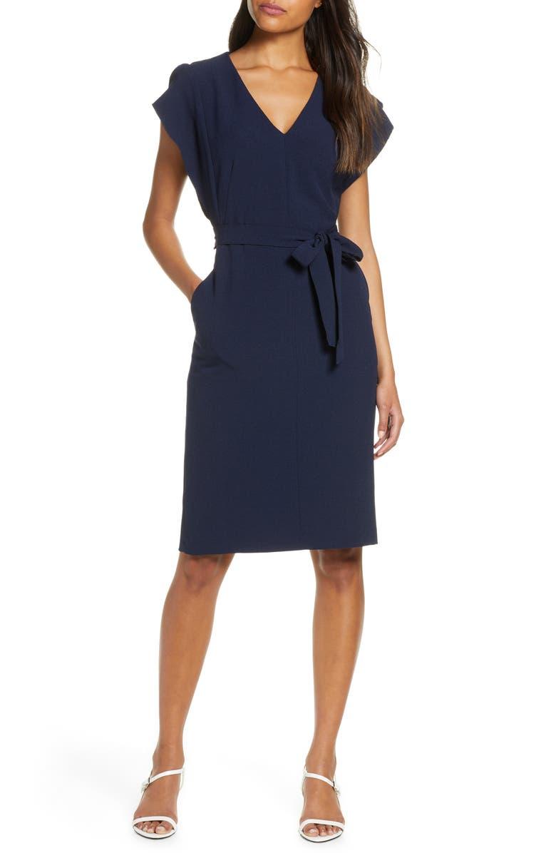 ELIZA J Ruffle Sleeve Sheath Dress, Main, color, NAVY
