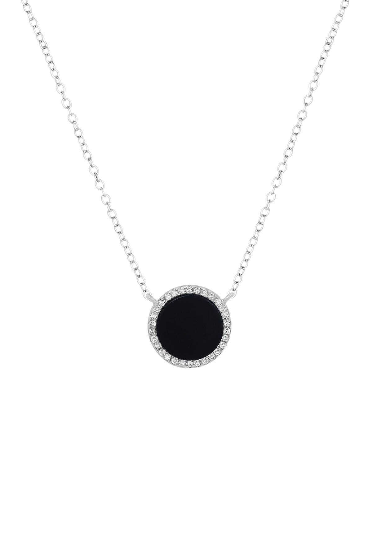 Image of Savvy Cie Sterling Silver Black Onyx & Cubic Zirconia Halo Necklace