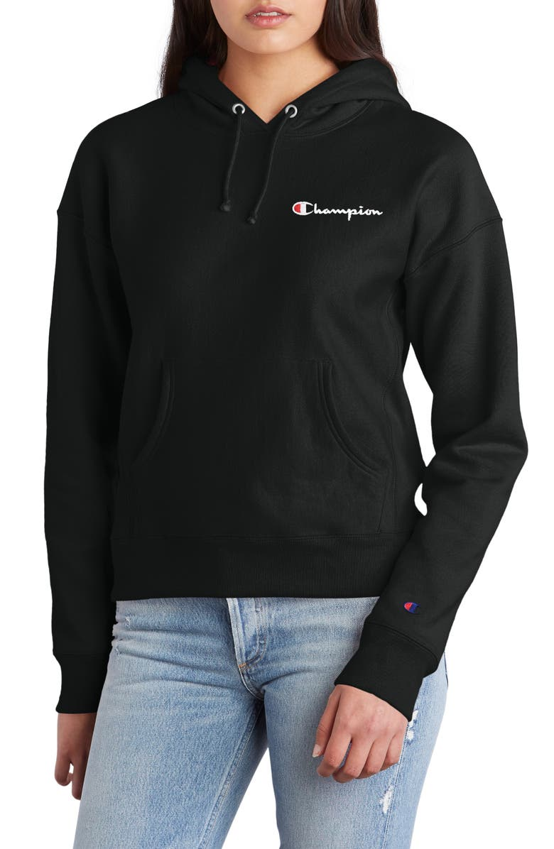 CHAMPION Logo Drawstring Hoodie, Main, color, BLACK