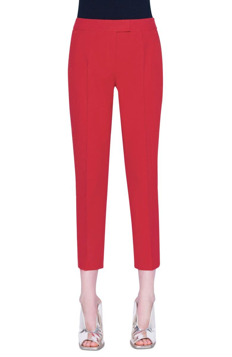 AKRIS PUNTO Frankie Stretch Cotton Pants, Main, color, LUMINOUS RED