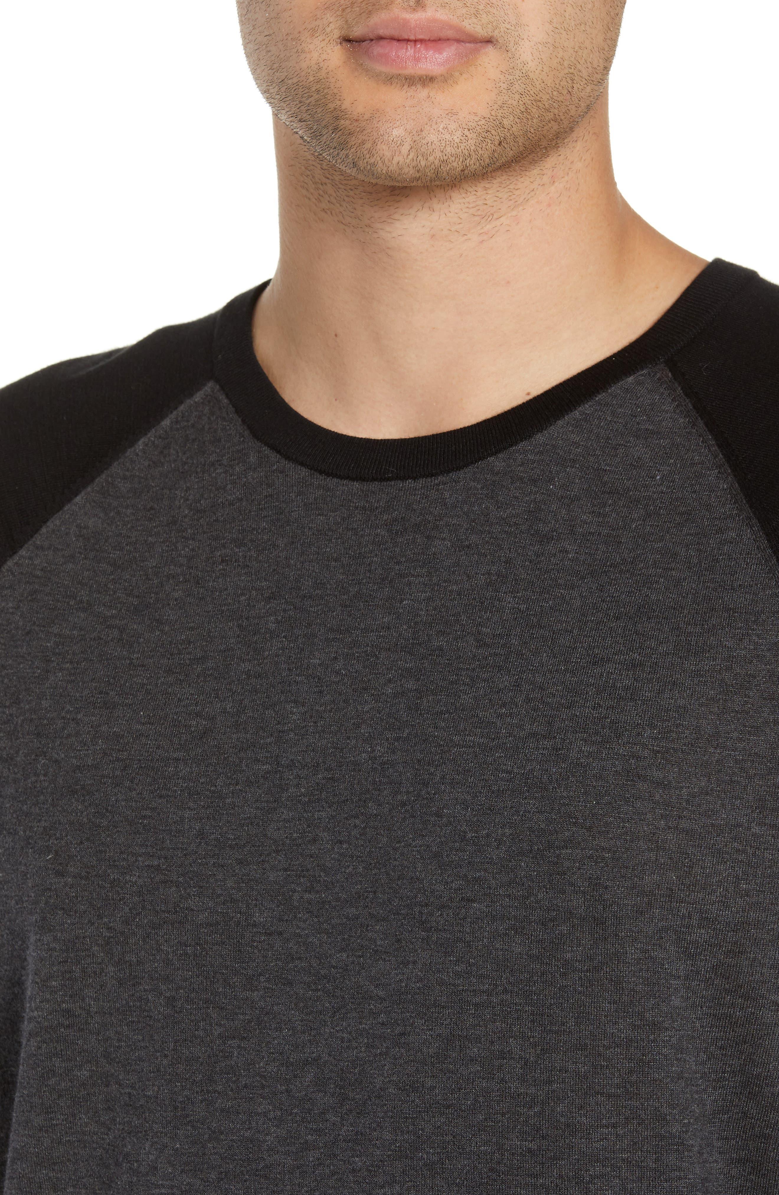 ,                             Jersey Crewneck Sweater,                             Alternate thumbnail 4, color,                             HEATHER/ CHARCOAL BLACK