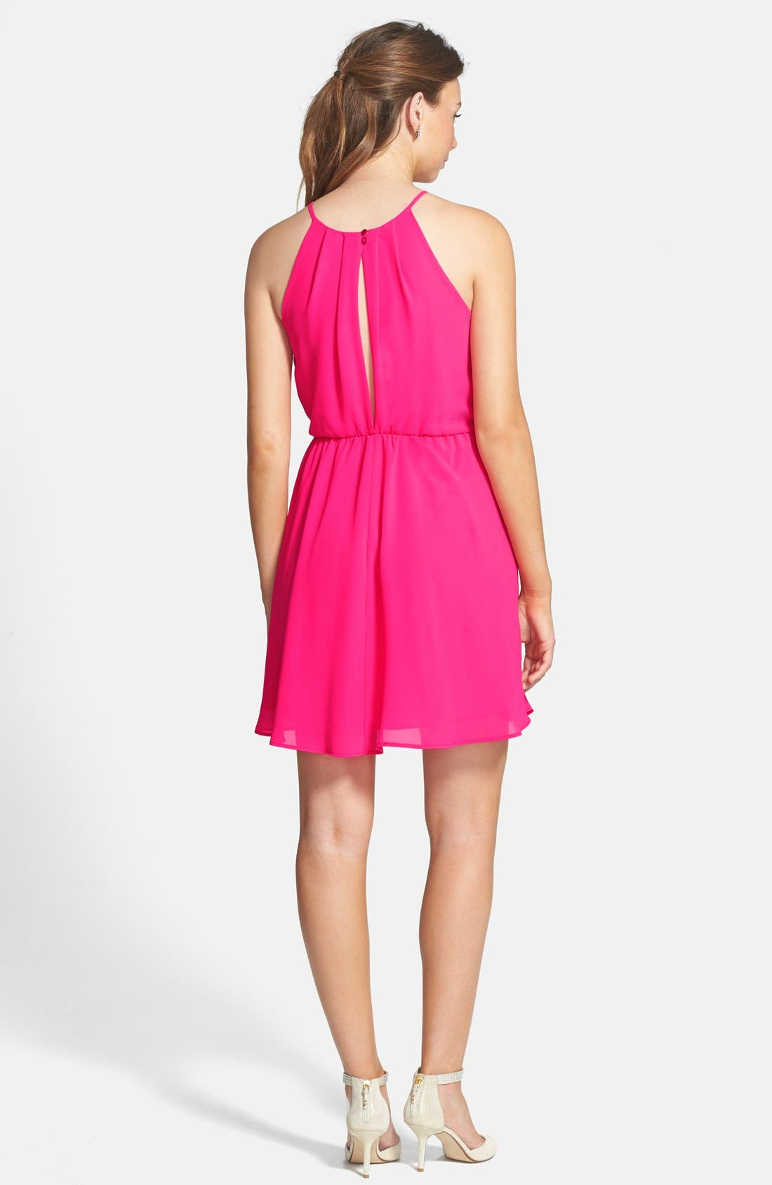 ,                             Blouson Chiffon Skater Dress,                             Alternate thumbnail 199, color,                             650