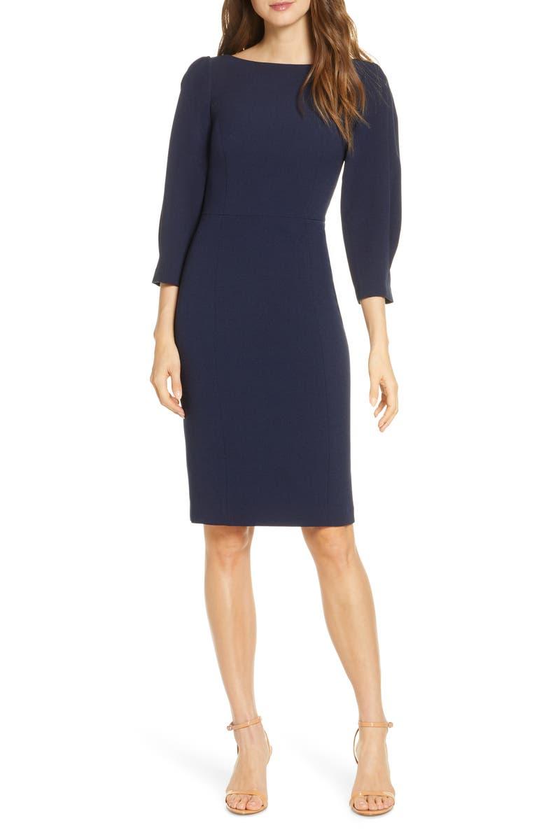 ELIZA J Pleated Sleeve Sheath Dress, Main, color, NAVY