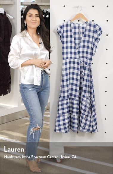 Calista Gingham Linen Midi Wrap Dress, sales video thumbnail