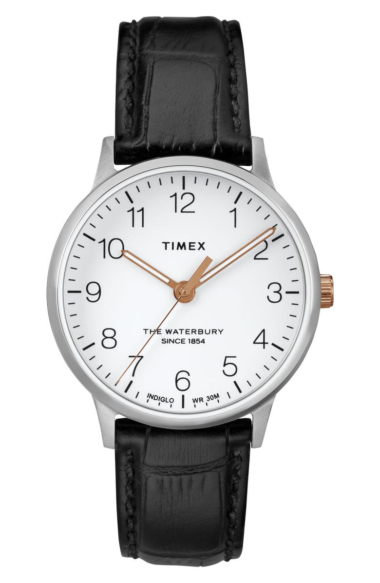 TIMEX<SUP>®</SUP> Waterbury Leather Strap Watch, 36mm, Main, color, 001
