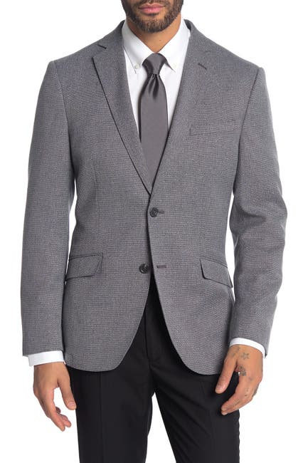 Image of SAVILE ROW CO Grey Notch Collar Dual Button Suit Separate Sport Coat