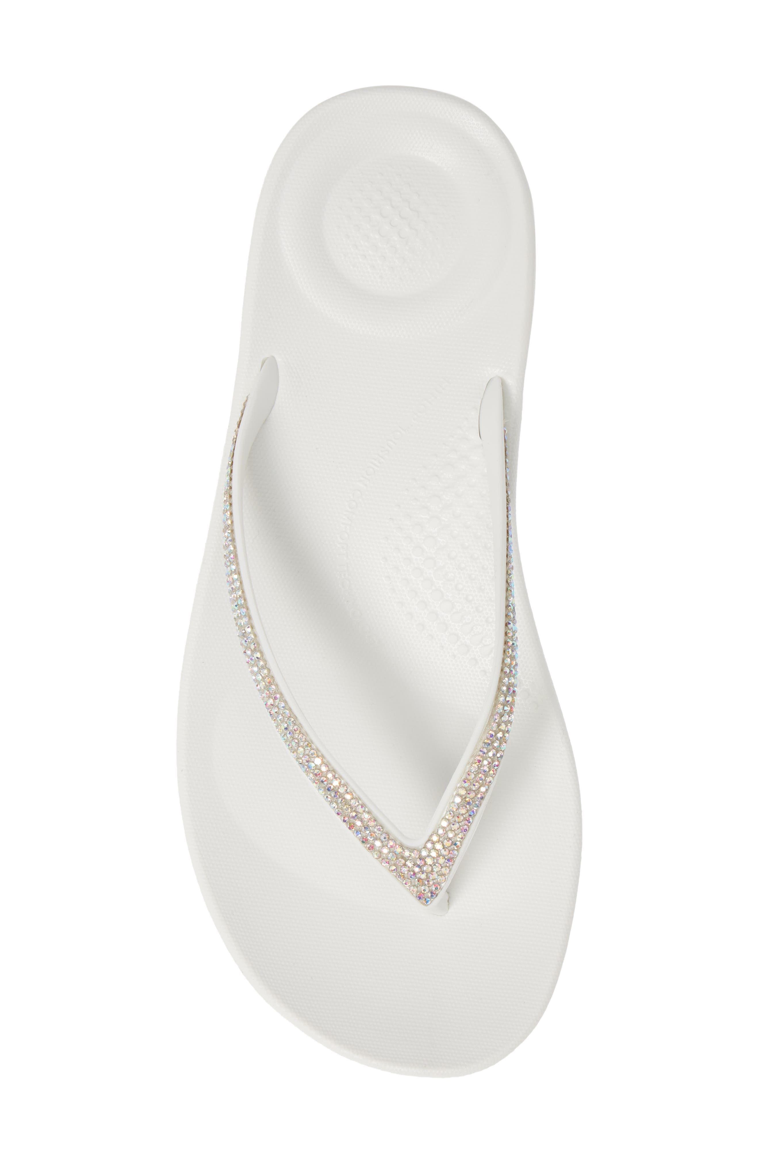 ,                             iQushion<sup>™</sup> Crystal Embellished Flip Flop,                             Alternate thumbnail 5, color,                             URBAN WHITE