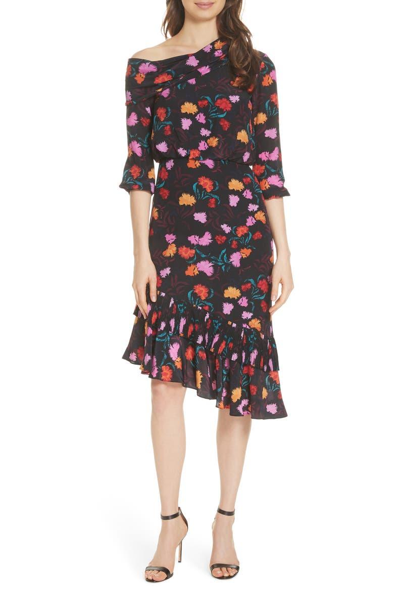 SALONI Lexie Floral Print Silk Off the Shoulder Dress, Main, color, 002