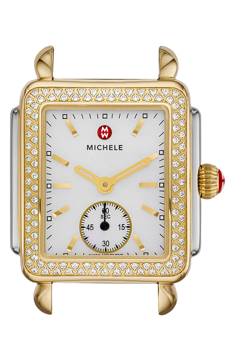 MICHELE Deco 16 Diamond Watch Head, 29mm x 31mm, Main, color, SILVER/ GOLD