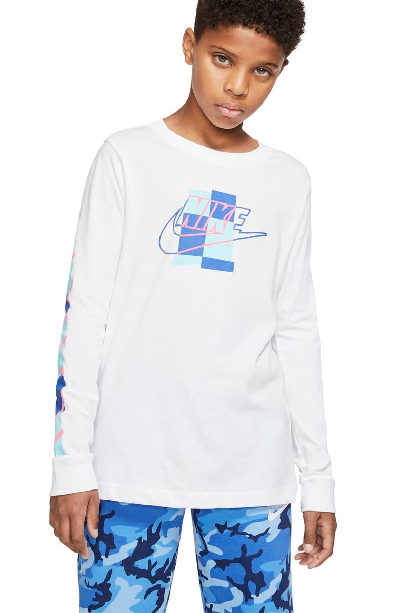 NIKE Sportswear Futura Shapes Graphic T-Shirt, Main, color, WHITE/ GAME ROYAL