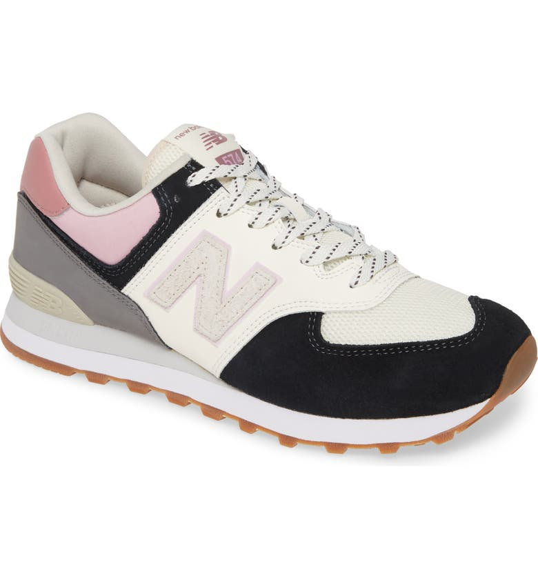 NEW BALANCE 574 Sneaker, Main, color, BLACK/ PINK SUEDE