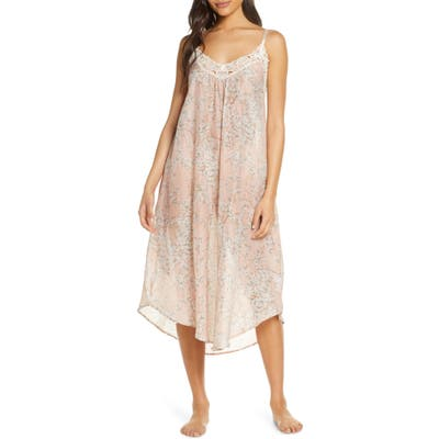 Papinelle Cherry Blossom Blush Cotton & Silk Nightgown, Pink