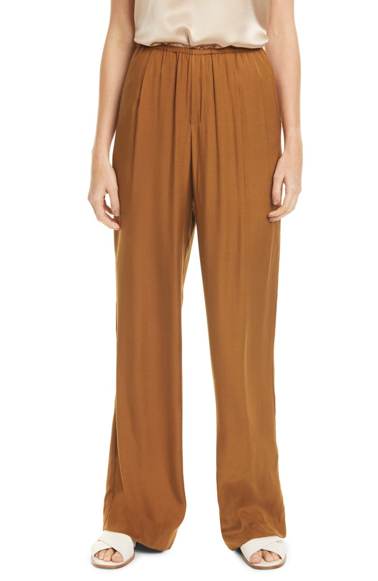 VINCE Silk Blend Pull-On Pants, Main, color, PALO SANTO