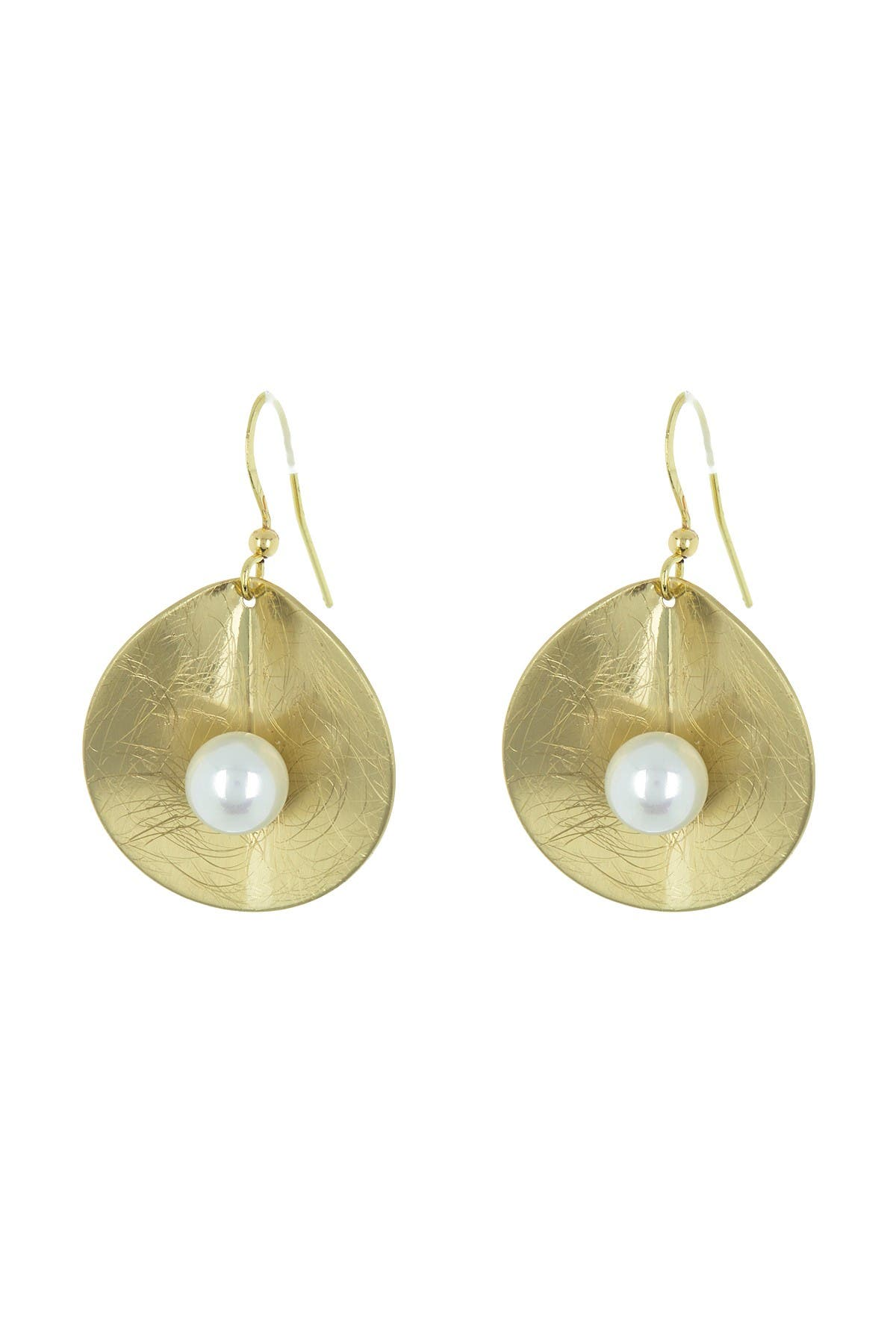 Image of AREA STARS Etched Petal Faux Pearl Earrings
