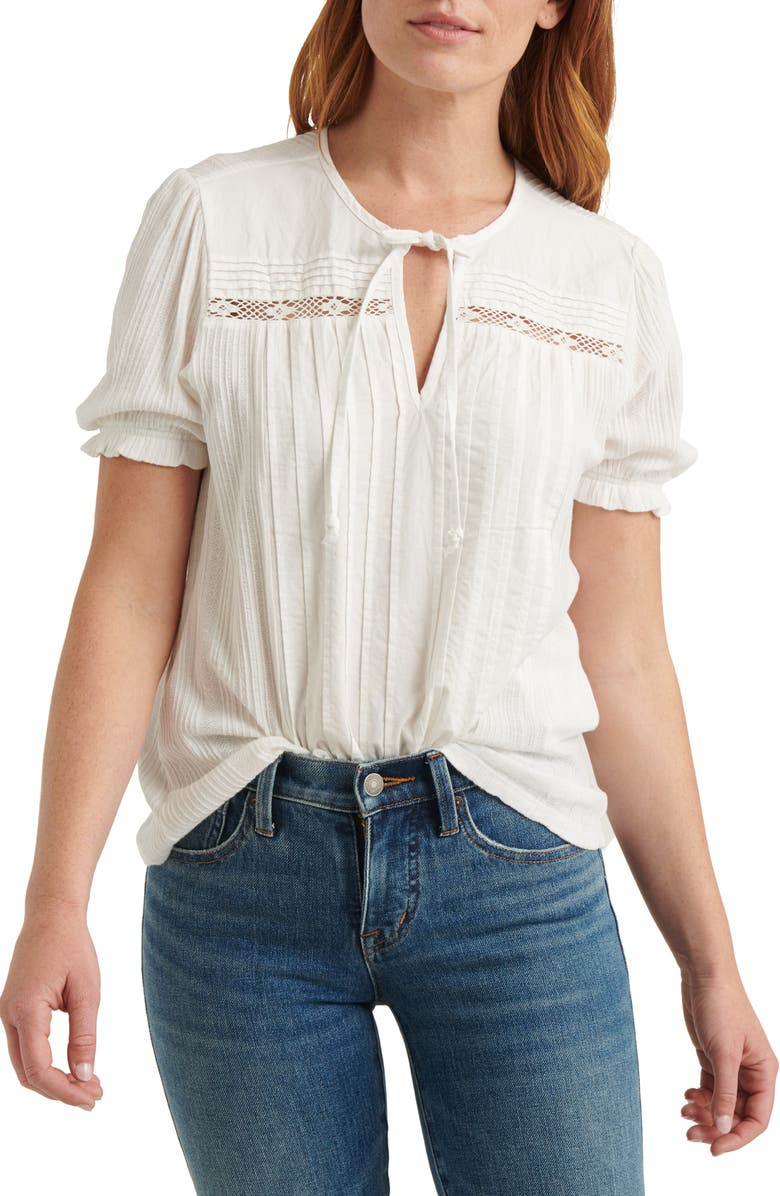 LUCKY BRAND Tie Neck Pintuck Blouse, Main, color, BRIGHT WHITE