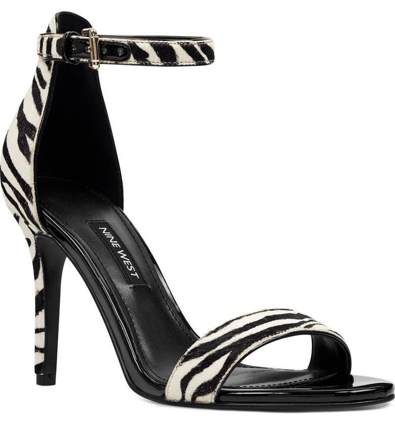 NINE WEST Ankle Strap Genuine Calf Hair Sandal, Main, color, WHITE/ BLACK CALF HAIR