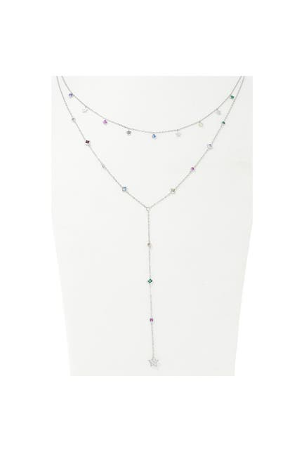 Image of Savvy Cie Sterling Silver Layered Multi Color Necklace