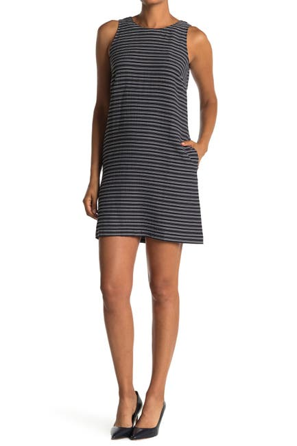 Image of Tommy Hilfiger Striped Seersucker Sleeveless Shift Dress