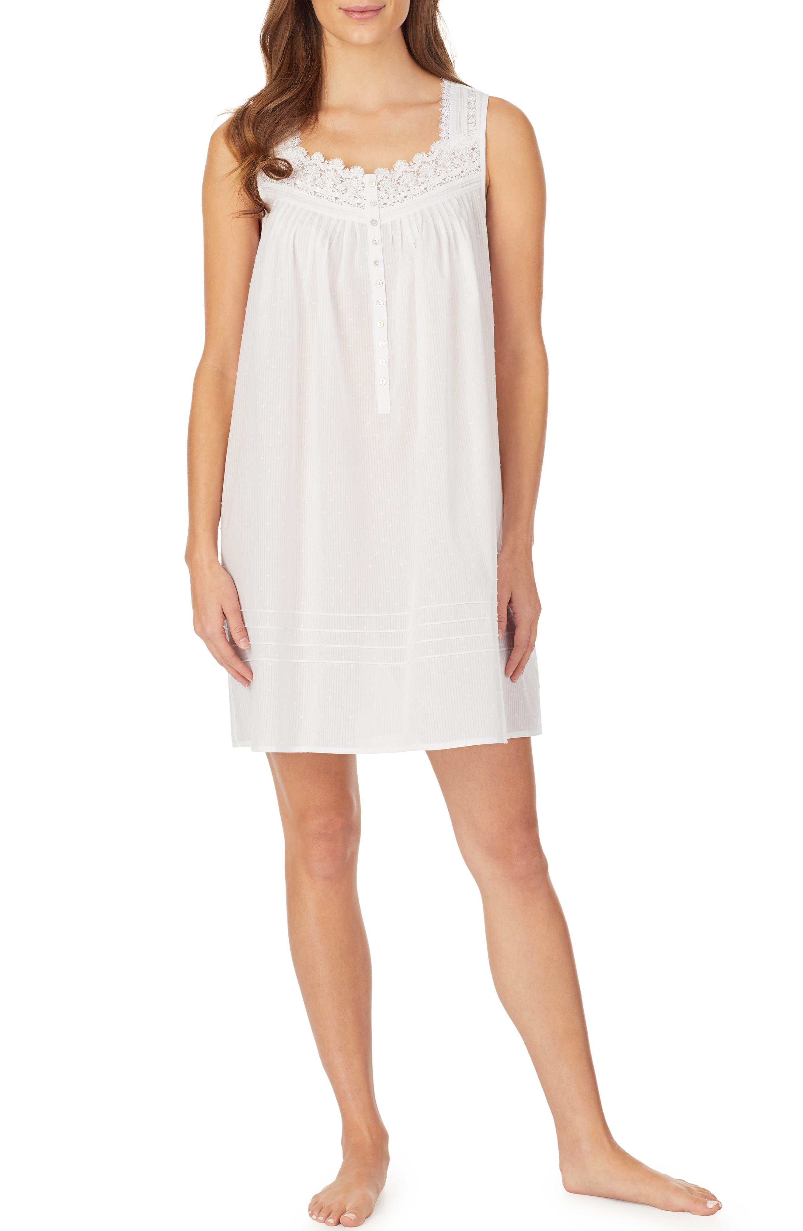Eileen West Clip Dot Short Nightgown, White