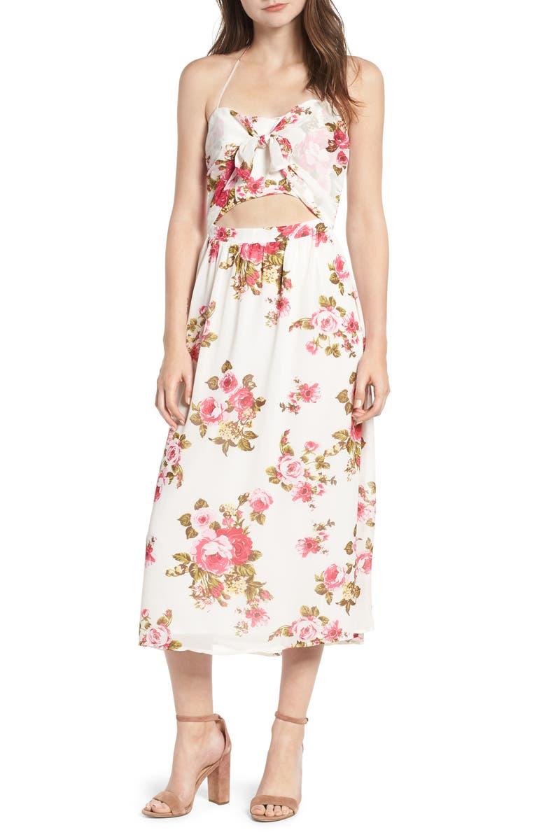 WAYF Floral Print Halter Midi Dress, Main, color, 900