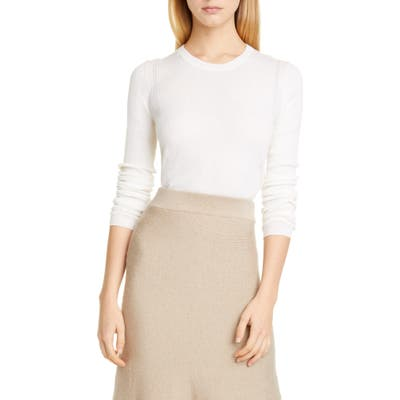 Altuzarra Platte Back Button Rib Merino Wool & Cashmere Sweater, White