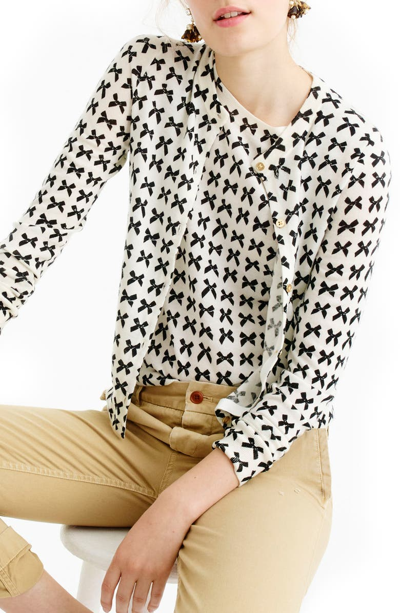 J.CREW Jackie Bow Print Lightweight Wool Cardigan, Main, color, 902