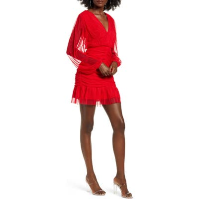 4Si3Nna Long Sleeve Shirred Tulle Minidress, Red