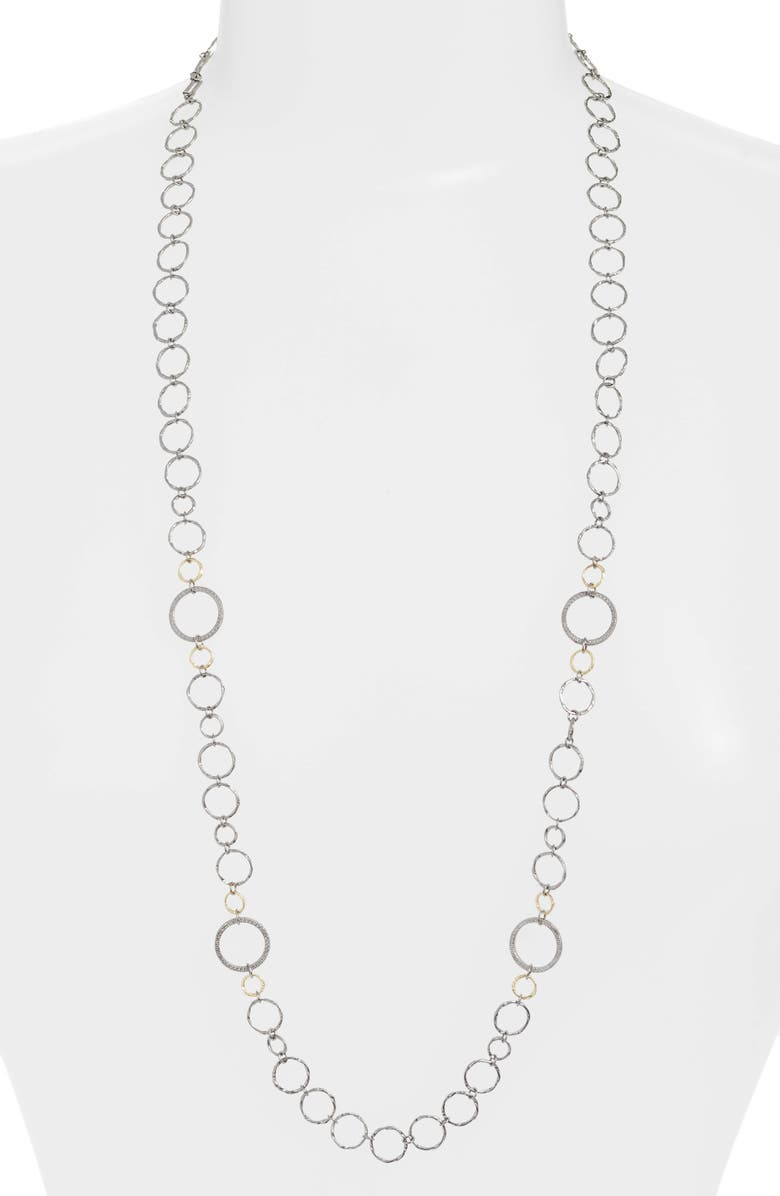 ARMENTA Old World Mixed Metal Chain Necklace, Main, color, SILVER