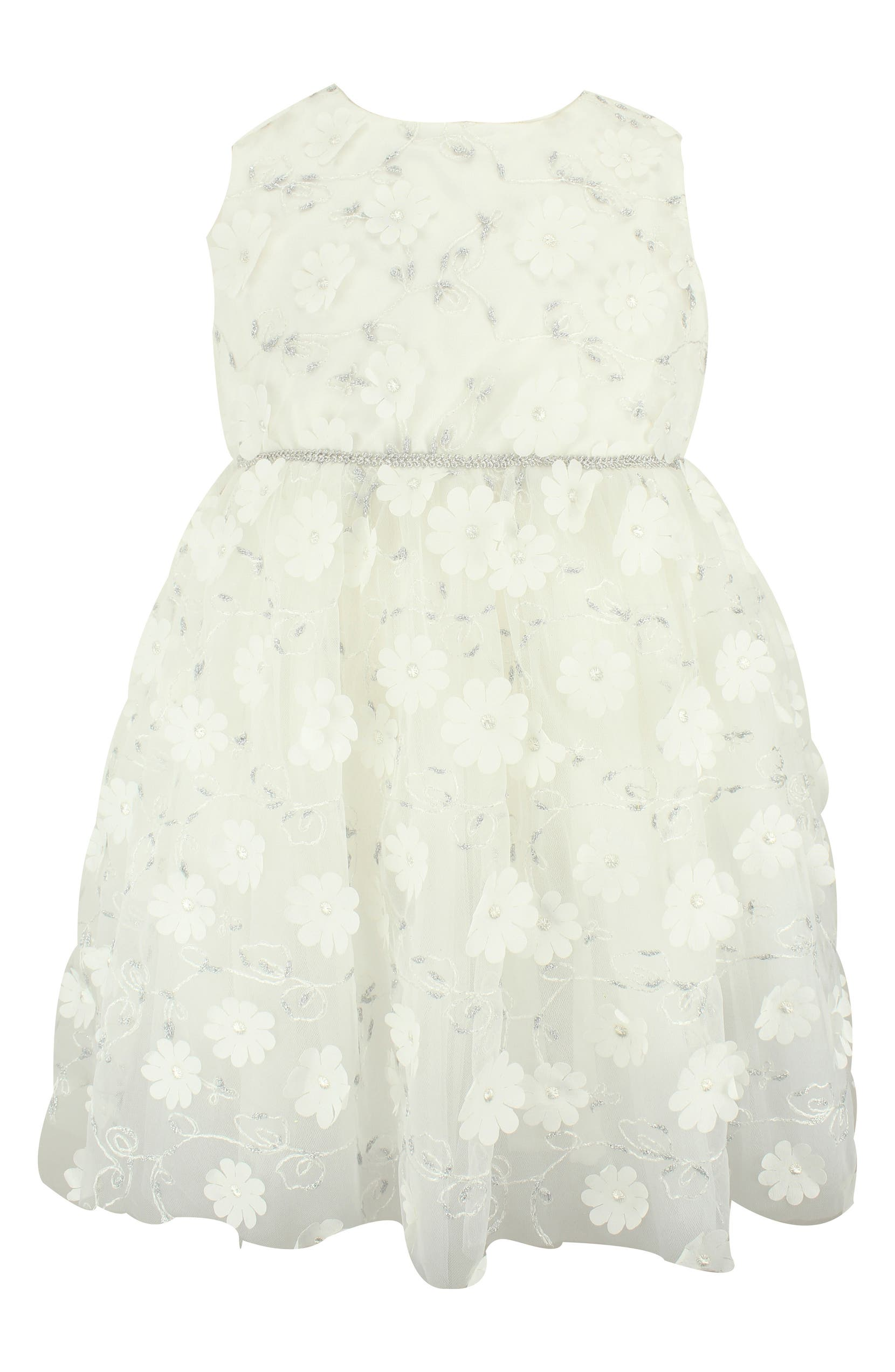 47012df10 Popatu Floral & Metallic Embroidery Tulle Dress (Baby Girls) | Nordstrom
