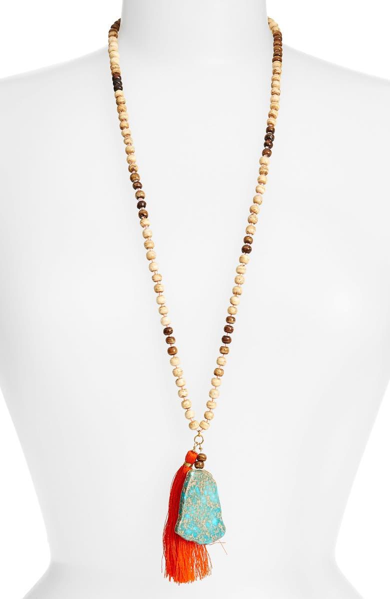 PANACEA Beaded Stone Tassel Necklace, Main, color, 440