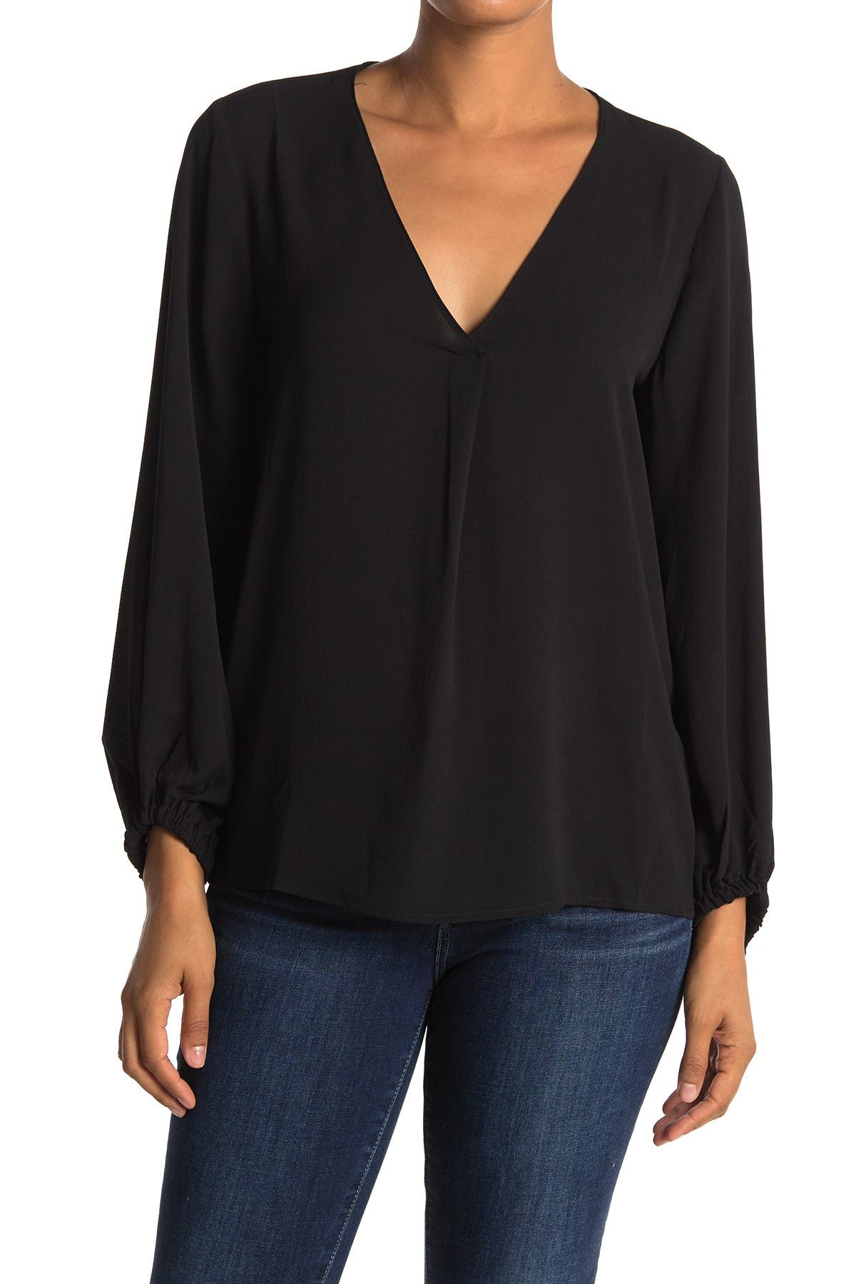Image of Lush V-Neck Balloon Sleeve Top