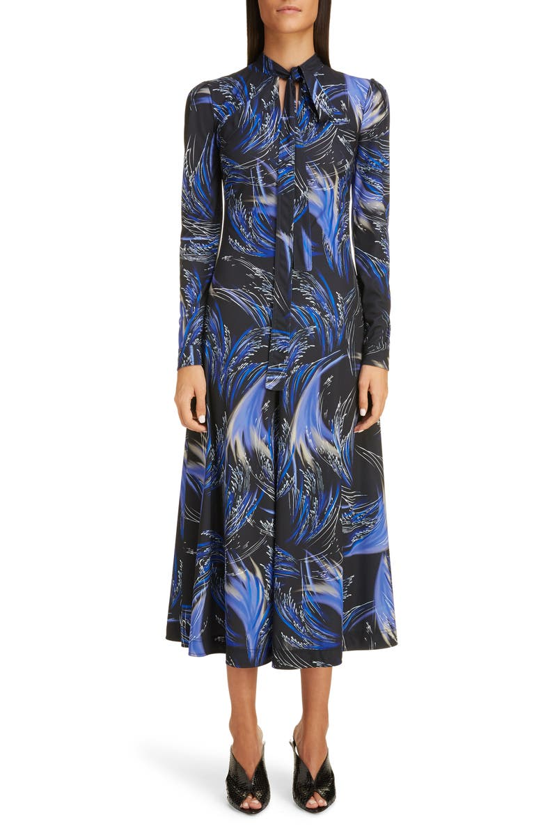 GIVENCHY Wave Print Jersey Fit & Flare Midi Dress, Main, color, BLACK/ BLUE