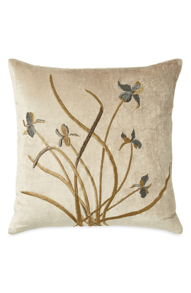 MICHAEL ARAM Iris Embroidered Velvet Accent Pillow, Main, color, LINEN