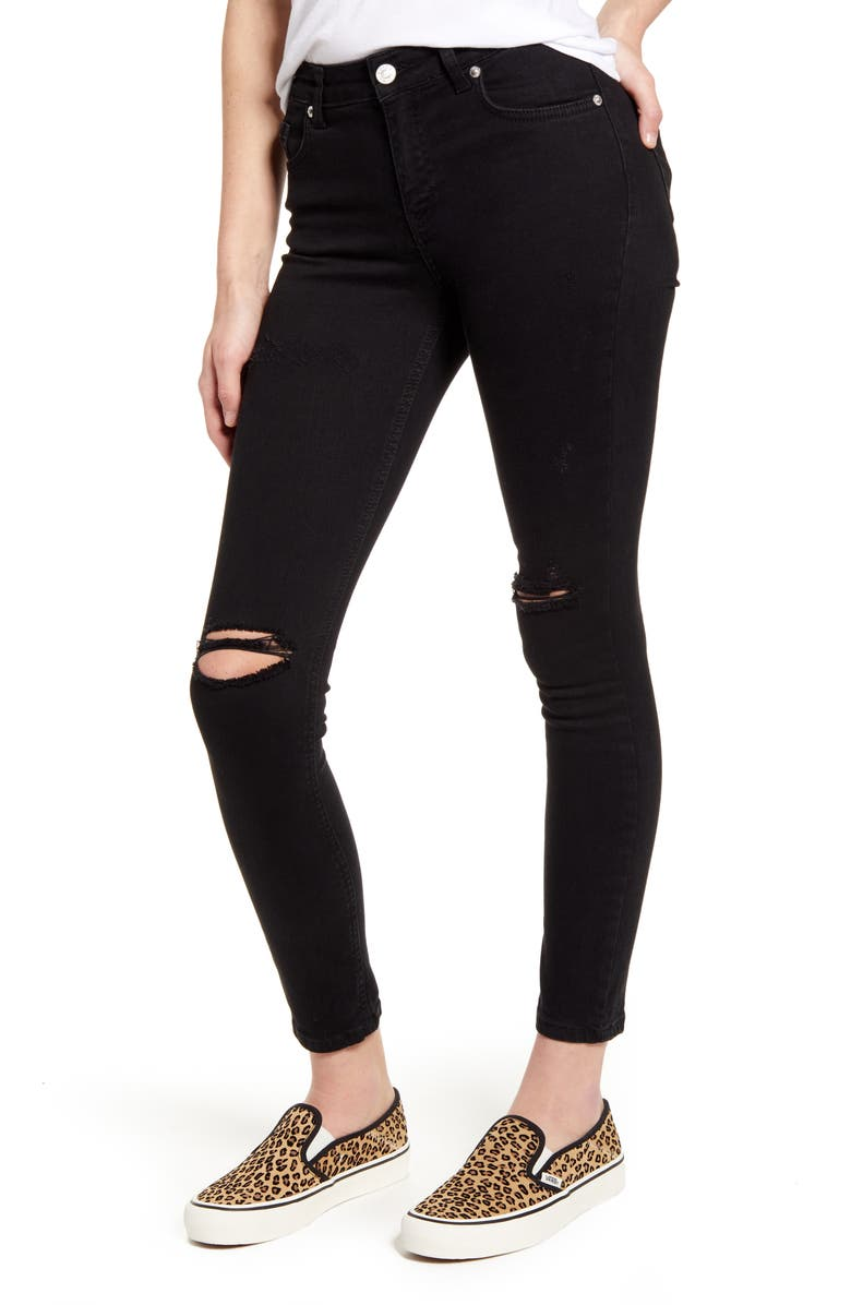 NA-KD Ripped Ankle Skinny Jeans, Main, color, BLACK