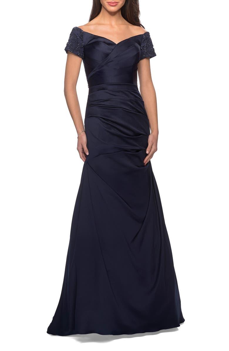 LA FEMME Off the Shoulder Beaded Satin Trumpet Gown, Main, color, NAVY