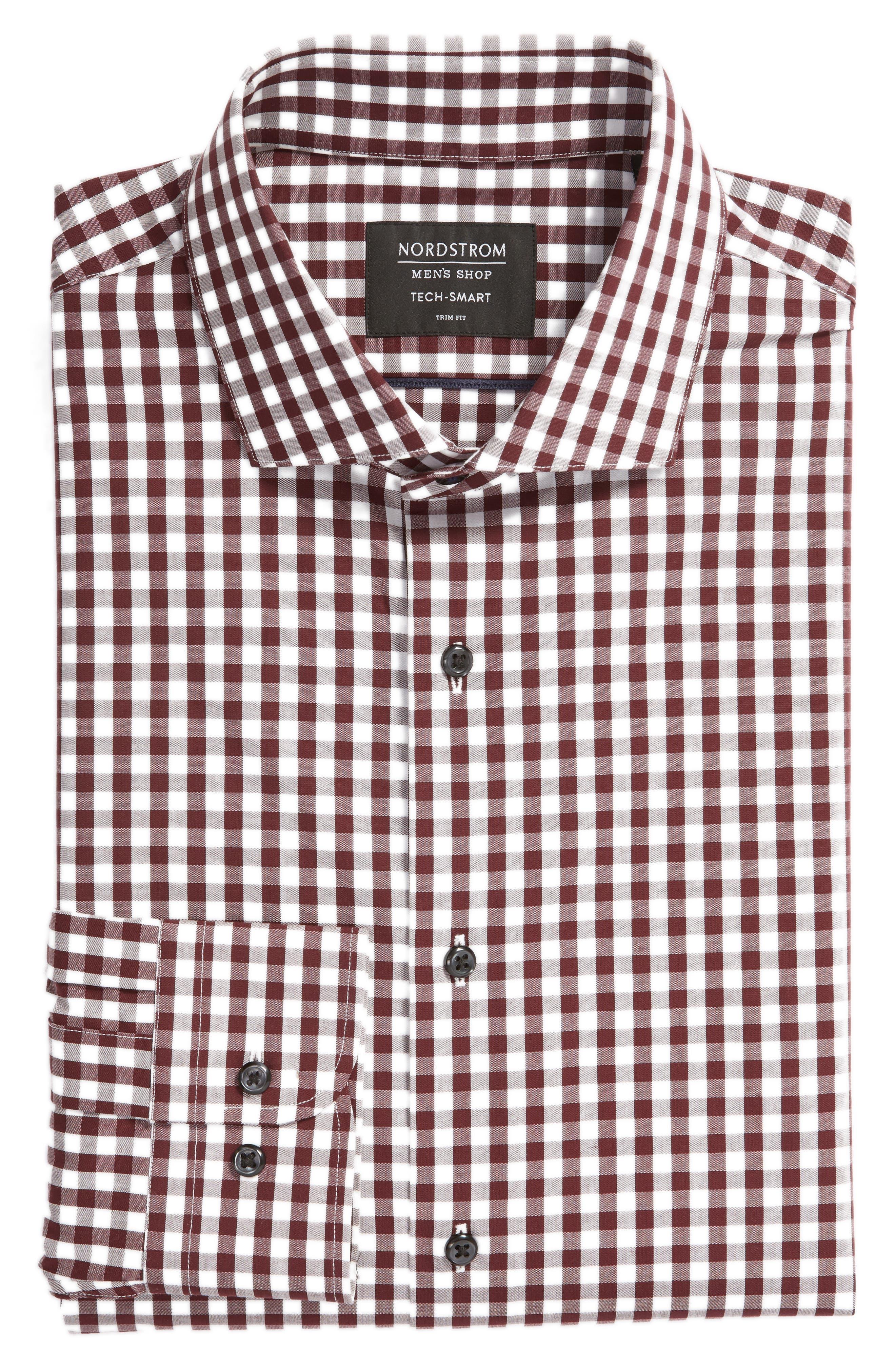,                             Tech-Smart Trim Fit Stretch Check Dress Shirt,                             Alternate thumbnail 55, color,                             930